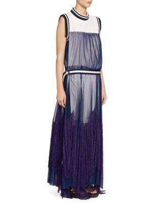Striped-Border Sleeveless Pleated Tulle Overlay Long Dress in White Navy