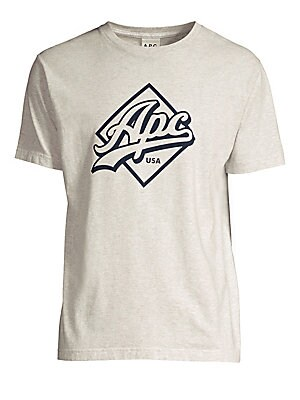 """Image of A classic-fit cotton-blend tee finished with a logo graphic at the chest. Banded crewneck Short sleeves Pullover style Cotton/polyester Dry clean Made in USA SIZE & FIT Classic fit About 27"""" from shoulder to hem. Men Adv Contemp - Trend Collections. A.P.C"""