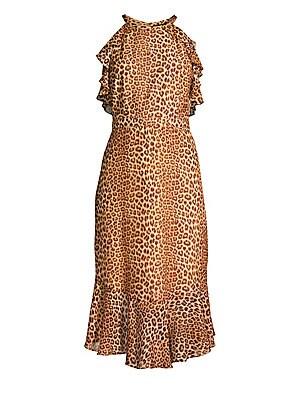 e70cad3c32e Rachel Zoe - Posie Leopard Ruffled Flounce Silk Sheath Dress