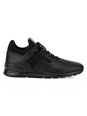 """Image of Smooth leather sneakers with perforations are a fresh take on this footwear basic. Leather and mesh upper Almond toe Lace-up vamp Mesh lining Rubber sole Made in Italy SIZE Platform, 1"""" (25mm). Men's Shoes - Tods Mens Footwear. Tod's. Color: Black. Size:"""