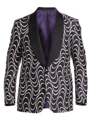 3cf15987c076 Ralph Lauren Purple Label Optical-Print Silk One-Button Jacket