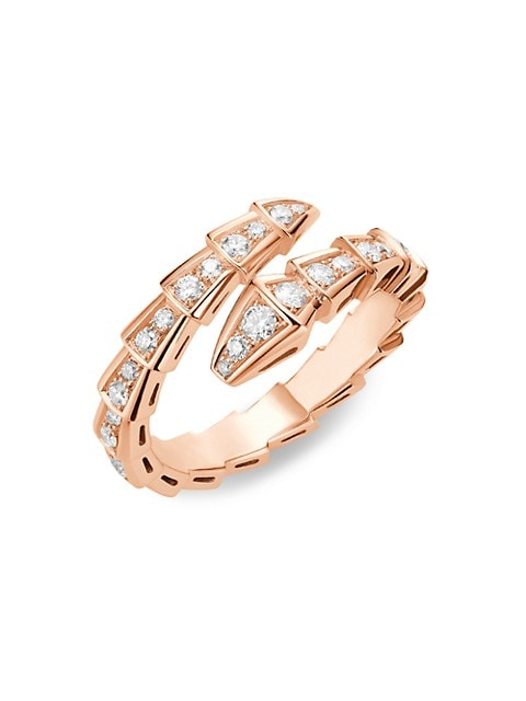 Serpenti Viper 18K Rose Gold & Pavè Diamond Ring