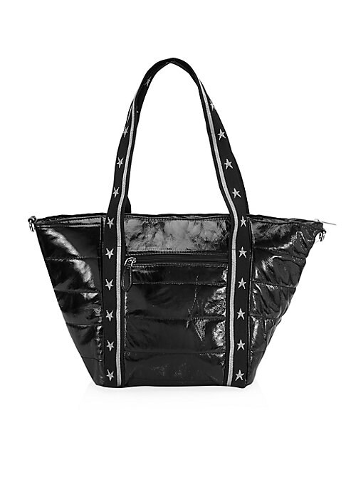 """Image of A quilted tote bag in a glossy finish with sporty styling. Dual top handle. Top zip closure. Front zip pocket. Cotton-blend lining. Polyurethane. Imported. SIZE.13""""W x 10""""H x 5""""D."""