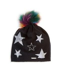 226098ab3d5 Product image. QUICK VIEW. Bari Lynn. Fox Fur Pom-Pom Black Star Hat