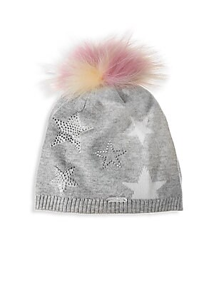 Image of A plush fox fur pom-pom tops this crystal embellished star print knit hat. Ribbed trim Acrylic Fur type: Dyed fox Fur origin: China Spot clean Made in USA. Children's Wear - Infant Toys And Gifts. Bari Lynn. Color: Silver.