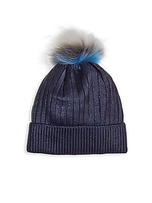 Image of A plush dyed fox furpom-pom tops this rib-knit hat in a lovely metallic finish. Folded brim Acrylic Fur type: Dyed fox Fur origin: China Dry clean by fur specialist Made in USA. Children's Wear - Infant Toys And Gifts. Bari Lynn. Color: Navy.