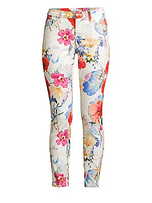 "Image of A bright floral print refreshes these classic skinnies perfect for an effortless casual-chic look. Five-pocket style Button closure Zip fly Cotton/spandex Machine wash Imported SIZE & FIT Rise, about 8.5"" Inseam, about 27"" Leg opening, about 10"" Model sho"