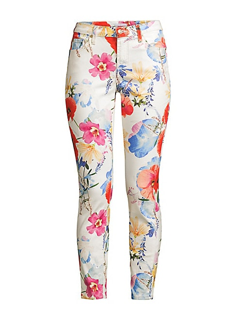 "Image of A bright floral print refreshes these classic skinnies perfect for an effortless casual-chic look. Five-pocket style. Button closure. Zip fly. Cotton/spandex. Machine wash. Imported. SIZE & FIT. Rise, about 8.5"".Inseam, about 27"".Leg opening, about 10"".Mo"
