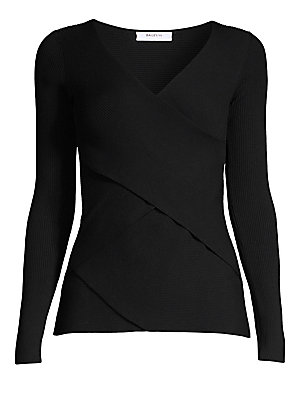 """Image of A criss-crossing wrap-front construction lends this V-neck sweater a balletic attitude. Surplice V-neck Long sleeves Pullover style Viscose/polybutylene-rerephthalate/nylon Dry clean Imported SIZE & FIT About 24"""" from shoulder to hem Model shown is 5'10 ("""