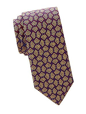 "Image of A fan-shaped pattern lends vintage style to this classic-cut tie made of pure silk. 100% silk Dry clean Made in France SIZE Width, about 3.3"". Men Luxury Coll - Charvet > Saks Fifth Avenue. Charvet. Color: Yellow."