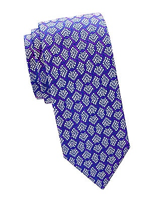 "Image of A fan-shaped pattern lends vintage style to this classic-cut tie made of pure silk. 100% silk Dry clean Made in France SIZE Width, about 3.3"". Men Luxury Coll - Charvet > Saks Fifth Avenue. Charvet. Color: Blue."