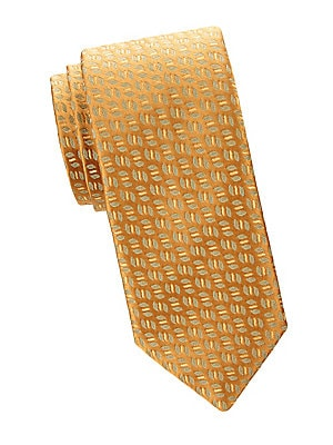 """Image of Allover leaf pattern adds a playful twist to this essential silk tie. 100% silk Dry clean Made in France SIZE Width, about 3.3"""". Men Luxury Coll - Charvet. Charvet. Color: Yellow."""