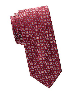 "Image of Allover leaf pattern adds a playful twist to this essential silk tie. Silk Dry clean Made in France SIZE Width, about 3"". Men Luxury Coll - Charvet. Charvet. Color: Burgundy."
