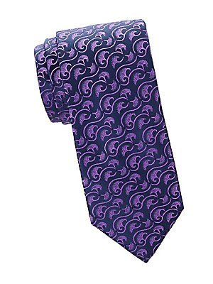 "Image of A fun and curvy mushroom print updates this classic-cut tie made of French silk. 100% silk Dry clean Made in France SIZE Width, 3"". Men Luxury Coll - Charvet. Charvet. Color: Purple."