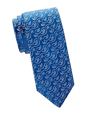 "Image of A modern abstract print refreshes this classic-cut tie made from pure French silk. Silk Dry clean Made in France SIZE Width, about 3"". Men Luxury Coll - Charvet. Charvet. Color: Blue."