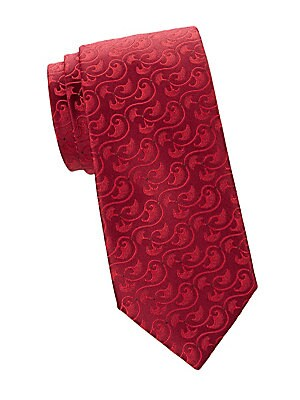 "Image of Allover tonal mushroom pattern adds a playful twist to this essential silk tie. Silk Dry clean Made in France SIZE Width, about 3"". Men Luxury Coll - Charvet. Charvet. Color: Orange."