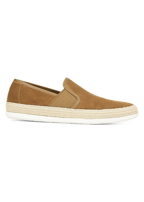 Image of Sneaker comfort with espadrille stitching elevated style and platform sole. Sport suede upper. Round toe. Side gore. Slip-on style. Leather lining. Padded insole. Rubber sole. Imported.