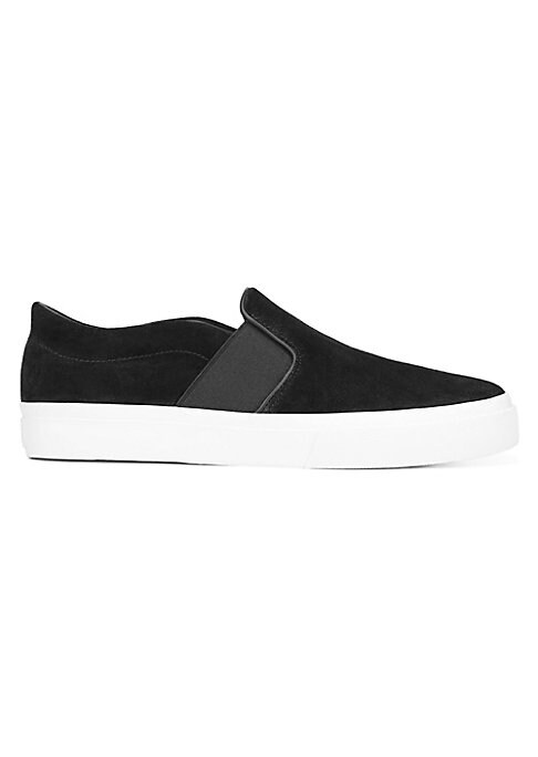 Image of Minimalist suede slip-on with sneaker comfort and platform sole. Sport suede upper. Almond toe. Side gore. Slip-on style. Leather lining. Padded insole. Rubber sole. Imported.