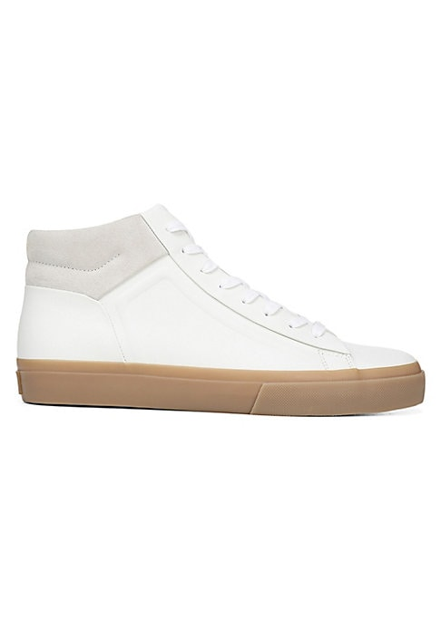 Image of Minimalist leather sneaker with on-trend platform sole and contrast suede trim. Nappa leather upper. Round toe. Lace-up vamp. Leather lining. Padded insole. Rubber sole. Imported.