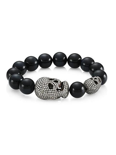 Blue Tiger Eye & Diamond Pavé Skull Beaded Bracelet