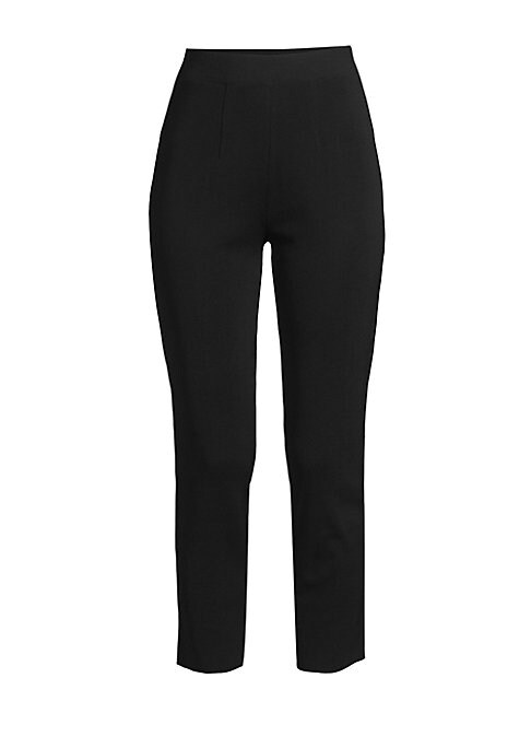 "Image of A slimmer leg paired with a cropped length results in a versatile pant silhouette. Elasticized waistband. Pull-on style. Acrylic/polyester. Machine wash. Imported. SIZE & FIT. Slim ankle fit. Rise, about 10"".Inseam, about 27"".Model shown is 5'10"" (177cm)"