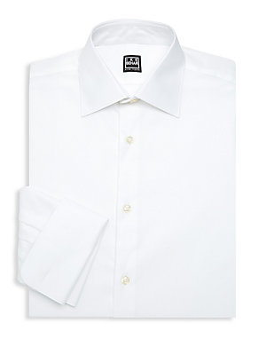 """Image of Crisp button-down shirt is a classic wardrobe basic. Point collar Long sleeves Buttoned barreled cuffs Button front Cotton Machine wash Imported SIZE & FIT Regular-fit About 29"""" from shoulder to hem. Men Luxury Coll - Designer Dress Shirts. Ike Behar. Col"""