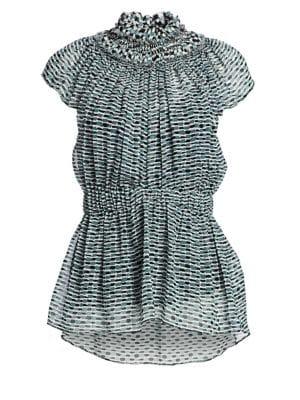 Proenza Schouler Printed Chiffon Silk Cap-Sleeve Peplum Blouse