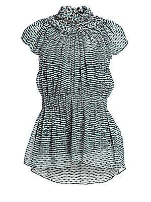 f7d23721361167 Proenza Schouler - Printed Chiffon Silk Cap-Sleeve Peplum Blouse