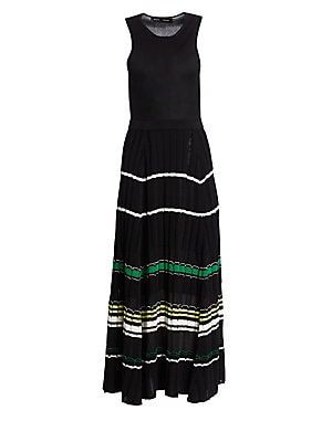 Image of With the appearance of a skirt-and-top ensemble, this sleeveless maxi is an easy-to-wear option that elongates your figure for a flattering fit. Its fitted bodice falls to a full rib-knit skirt that gives texture to the cotton and silk-blend construction.