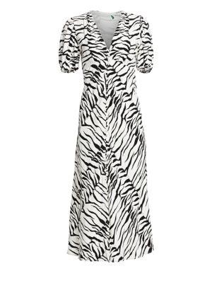 Rixo London Tonya Tiger A-Line Midi Dress
