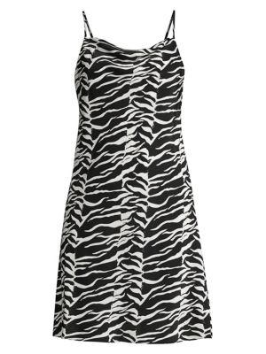 Rixo London Silks Twiggy Tiger Print Silk Tank Dress