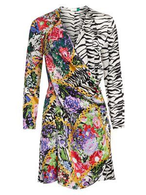 Rixo London Dresses Abba Floral & Zebra Wrap Dress
