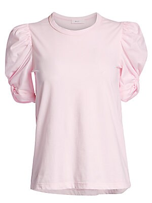 """Image of Soft cotton tee redefined by delicate puff sleeves. Roundneck Short puff sleeves Pullover style Cotton Machine wash Made in USA SIZE & FIT About 25"""" from shoulder to hem Model shown is 5'10"""" (177cm) wearing a US size Small. Contemporary Sp - Workshop. A.L"""