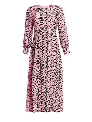 Rixo London Emma Tiger Print Silk A-Line Shirtdress