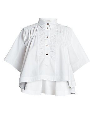 Image of Cut from Italian cotton, this half-button front blouse will become your favorite work to weekend staple. Enhanced with ruching and pleat details in a high-low silhouette, this shirt pairs just as easily with your dressy trousers as it does your casual jea