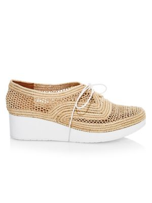 Clergerie Women's Vicole Woven Platform Wedge Oxfords In Natural