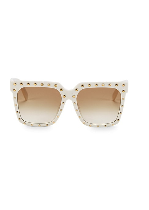 Image of Domed studs dot these square frames, resulting in an edgy look.100% UV protection. Gradient lenses. Case and cleaning cloth included. Acetate/Strass. Made in Italy. SIZE.55mm lens width.18mm bridge width.145mm temple length.