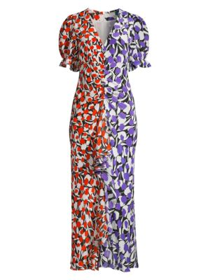 Rixo London Ariel Tulip-Print Cotton Silk Dress