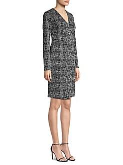 d7a80045 Donna Karan New York. Faux Wrap Tweed Sheath Dress
