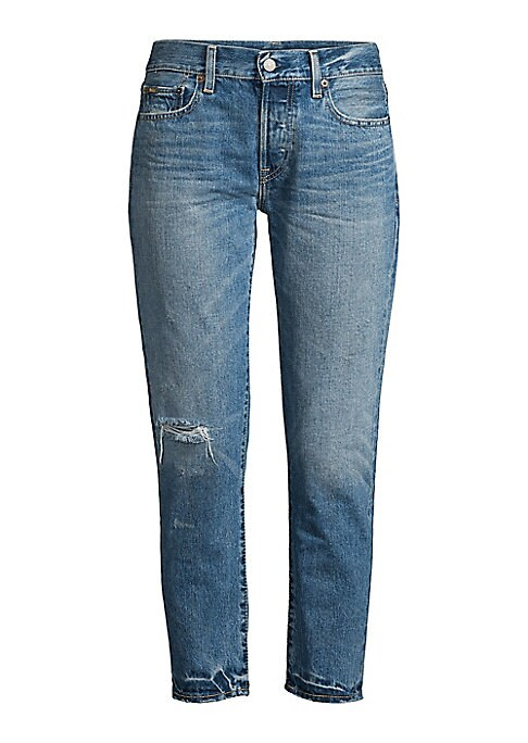 """Image of A new fit for Polo Ralph Lauren, this boyfriend jean is made with 13 oz. right hand indigo-dyed twill that's finished with slight fading for an authentic lived-in vibe. Belt loops. Zip fly with a signature shank closure. Five-pocket style with signature """""""