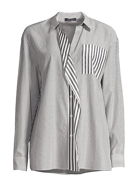 Image of This monochrome shirt features a cotton shirt construction and alternating stripe patterns with ruffle trim. Spread collar. Long sleeves with button cuffs. Front button closure. Slip pocket at chest. Ruffle placket. Cotton/acetate/viscose. Dry clean. Impo