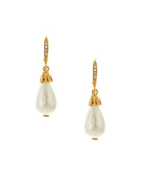 Classic Small Faux-Pearl & Goldtone Drop Earrings