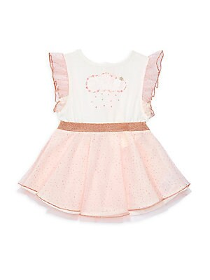 Image of Picture-perfect bi-material tulle dress with adorable sparkle and ruffle details. Roundneck Flutter sleeves Banded waist Embellished details Snap back closure Polyester Machine wash Imported. Children's Wear - Contemporary Children > Saks Fifth Avenue. Bi