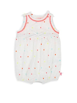 Image of Charming one-piece with colorful square pattern boasts pretty fringe trim and easy ring snaps at the hem. Roundneck Sleeveless Elasticized cuffs Fringe and bow details Concealed ring snaps at them Cotton Machine wash Imported. Children's Wear - Contempora