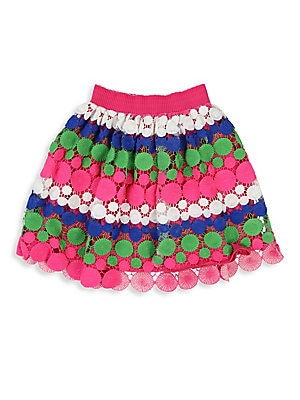 Image of Brighten her day with this pretty multicolored skirt with allover lace overlay. Elasticized waistband Pull-on style Polyester Machine wash Imported. Children's Wear - Contemporary Children > Saks Fifth Avenue. Billieblush. Size: 12.