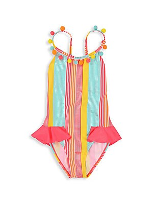 Image of Beach-ready one-piece features multicolor stripes, pretty pom-pom trim and ruffle details. Scoopneck with pom-pom trim Ruffle details Crisscross back straps Pull-on style Polyamide/elastane Machine wash Imported. Children's Wear - Contemporary Children >