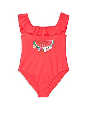 Image of Beach-ready swimsuit with allover sparkle features pretty ruffle trim and embellished graphic details. Roundneck with ruffle trim Embellished and graphic details Pull-on style Polyamide/elastane Machine wash Imported. Children's Wear - Contemporary Childr