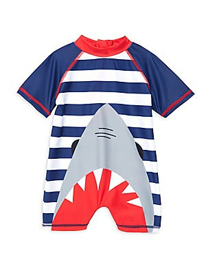Image of A dramatic shark bite graphic adorns this nautical-inspired romper which is finished with contrast topstitching. Stand collar Short raglan sleeves Back zip closure Polyester/spandex Machine wash Imported. Children's Wear - Classic Children. Andy & Evan. C