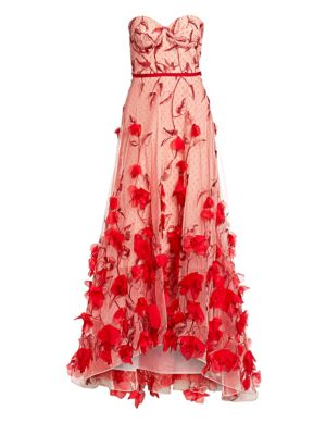 Marchesa Notte Gowns Strapless Floral-Embroidered High-Low A-line Gown