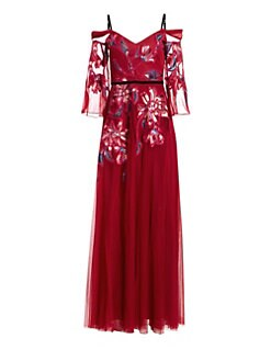 70c61a7aa86 Marchesa Notte. Cold Shoulder Embroidered Tulle Gown